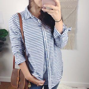 Ann Taylor LOFT Striped Button Down Shirt Blue